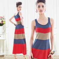 One-piece dress female big stripe color block rainbow skirt sleeveless tank dress tight-fitting basic cotton skirt