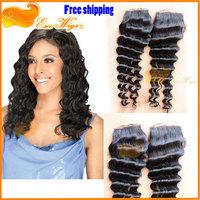 Sale top lace closure 6A 3.5X4inch brazilian bleached knots deep wave free part natural color queen hair lace closure