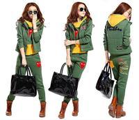 New Arrival Women Hoodies Thick Cotton Long Sleeve Casual Sport Suit Winter Clothing Set Tracksuit Hooded+Pants+Vest 3 Piece Set