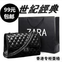 2014 2.55 black plaid chain bag vintage sheepskin one shoulder cross-body women's bags