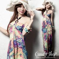 Bohemia beach dress plus size clothing one-piece dress full dress halter-neck tube top print dress