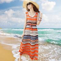 Sweet stripe twinset bohemia chiffon long vest beach dress one-piece dress n