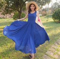 Summer plus size clothing one-piece dress high waist o-neck vest full dress blue slim chiffon dress side zipper