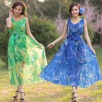 National trend plus size clothing long design one-piece dress summer sleeveless print chiffon long dress skirt beach resort