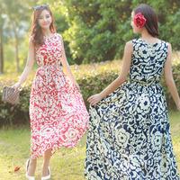 Bohemia national trend vintage elegant full dress 2014 fairy chiffon summer female one-piece dress beach dress