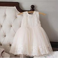Beautiful Girls Lace Tulle Sleeveless Summer Dress Children tutu Voile Dress Beige Pink Color 50pcs/lot