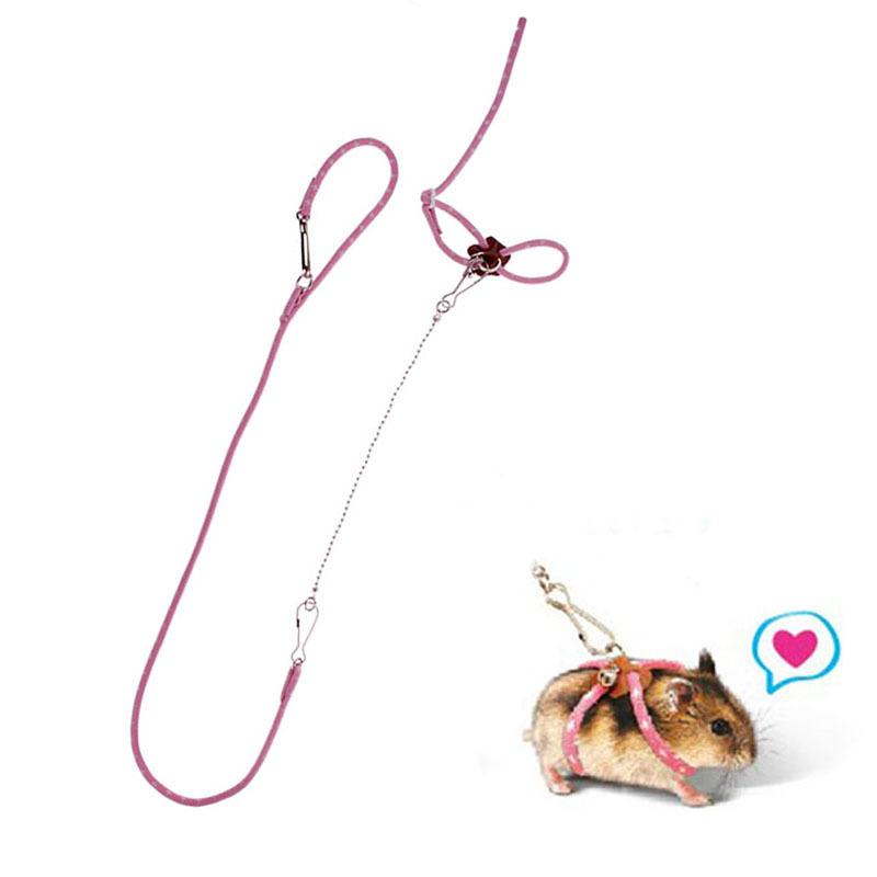 Hot Sale Pet Rat Mouse Harness Adjustable Rope Ferret Hamster Finder Bell Leash Lead#49174(China (Mainland))