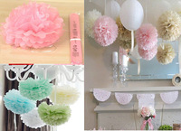 10cm=4 inch Tissue Paper Flowers pom poms balls lanterns Party Decor  For Wedding Decoration multi color option Wholesale retail