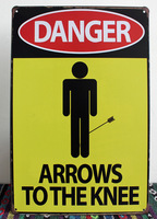 Home decoration Vintage DANGER ARROWS TO THE KNIFE painting Metal Tin Sign M-186