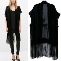 2014 New Summer Fashion Women's Black Chiffon Embroidered Tassels Loose Kimono Long Cardigan Shirts No button Blouses Black Tops