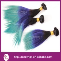 Free Shipping 3pcs lot Straight Brazilian ombre hair extensions weave remy human hair #1b/purple/turquoise