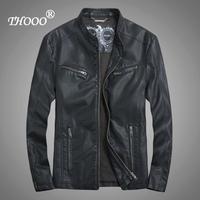 NEW  THOOO Brand classic fashion pu leather motorcycle jacket coat Faux Leather ew HOT GENTLEMEN'S  Slim Wholesale TM09018