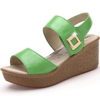 new 2014 women genuine leather shoes platform sandals for women fashion summer shoes wedge sandals