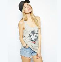 2014 Summer Hot new European and American College Wind Printed vest T-shirt casual shirt women t-shirt XL