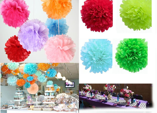 10cm=4 inch Tissue Paper Flowers pom poms balls lanterns Party Decor  For Wedding Decoration multi color option Wholesale(China (Mainland))