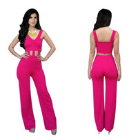 Hot Women Jumpsuits Summer 2014 Black Pink Hollow Out Vest Bodycon Bandage Rompers Fashion Sexy Clothing Vestido De Festa
