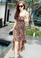 2014 Korean new Compound Silk harness ankle length sleevesless spaghetti strap leopard fashion sexy irregular hem dress