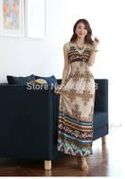 Cool! New! 2014 Bohemia Summer dress, deep V all match vintage floral beach long chiffon women dress