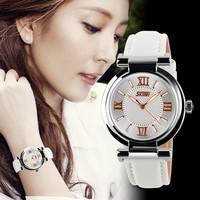 SKMEI 9075 Brand Dress Women's Leather Strap Gold watches Quartz Fashion Waterproof ,ladies watch (white)