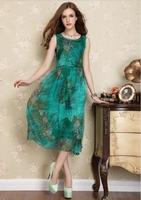 2Color Print Dress Casual Elegant Women Chiffon Midi Dress Ladies Sundress Tank Dress Green Purple 2014 New Fashion Summer F120