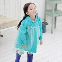 Frozen Fashion Baby Girls Clothes Snow Queen Elsa Blue Gauze Coat Princess Raincoat Jacket