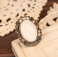 Wholesale White Hellow Fashion Classic Shiny Vintage Alloy Inner Diameter 18MM Jewelry Ladies Rings R-013-White