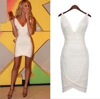 2014 New Celebrity Dress white red spring summer dresses casual v-neck sleeveless mini Dress sexy bodycon bandage dress