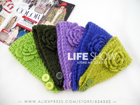 Fashion Headband Classical Headwear Knitted Accessories with Flower Crochet Handmade Band Fashion Lady  Life Show