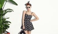 2014 summer new Slim Sexy Polka Dot Dress waist strap Bra dot straight knee length sleeveless strapless empir cut dress