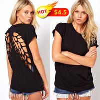 S-XXL New 2014 Fashion blouses shirt backless angel wings women t-shirt women clothing short tops & tees t-shirt ladies clothing