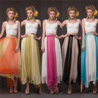 Women's summer skirt long skirt wrinkle silk brocade hit color 8 meters big swing bohemian maxi skirt women clothing X220