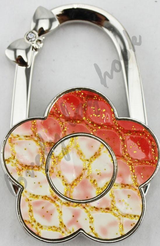Fedex Free Shipping orange flower leather flower purse hanger handbag hook bag hanger hook bag hook(China (Mainland))