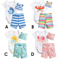 FREE SHIPPING  2014 baby wear boys girls romp Candy color cartoon insect insect ha clothing 3 Rompers, clothing + pants + hat