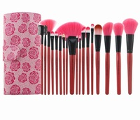 Professional 18 pcs Rose Red Cosmetic Makeup Brush Set and Kit Brand  with PU Leather Case