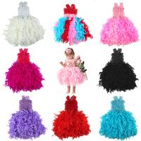 Female Girl Feather Dress Girl Little Angel Feather Dress Feather Dance Dress