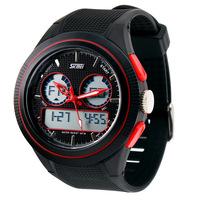 SKMEI 0957 Men Sports Watches Fashion Casual Digital Military Dress Watch LED Waterproof Multifunctional Wristwatch (red)