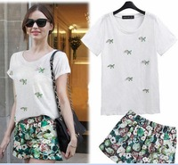New Arrival Large plus size women Subsidize small horse pattern  t-shirt + fruit color shorts one suit XL~5XL free shipping