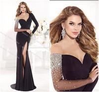 2014 Sheer Split Sexy Mermaid Sweatheart  Long Sleeve Rhinestone Sequins Beads Black Long Prom Evening Dress Birthday Tarik Ediz