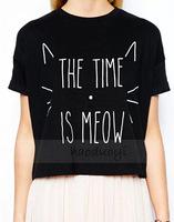 2014 summer new hot cute cat print short paragraph black round neck short sleeve T-shirt casual shirt women t-shirt XL