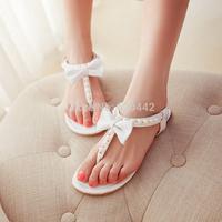 Summer 2014 New Simple wild bow pearl beading ladies flats flip flops sandals flat women's sandals Plus large big size 34-45