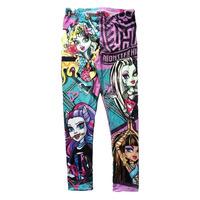 [ 6-8T ]Retail  Monster High school Leggings Fashion  Printed Fall Cotton Girls Leggings Baby Kids Children Pants Y60