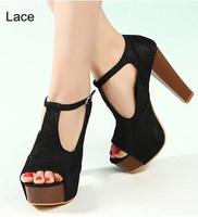 Fashion Women Black Leather Platform Lace Up Thick High Heels Punk rivet Shoes Booties lady Ankle Boots T Strap Pumps 34-40 11cm