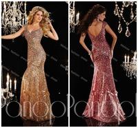 V-neck Glitter Cap Sleeve Beaded Long Yellow Evening/Prom Dress Sequined Free Shipping Floor Length Custom Made