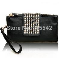 2014 new arrive Hot selling PU Leather fashion designer Rivet bag women wallet Bag fashion women's clutches