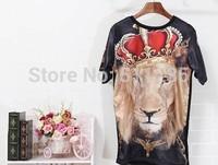2014 Hottest GIV Men Royal Crown the King of Lion Design 3D T Shirt Unisex Couple Lovers Tee Shirt T-Shirt Holdem Denim