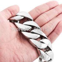 """8.46"""" 26mm Width 180g Huge 316L stainless steel curb cuban link bracelet chain Men's heavy Jewelry 26mm*21.5cm silver"""