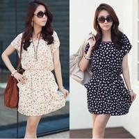 Free shipping!!! 2014 spring plus size clothing slim hip chiffon short-sleeve dress for female