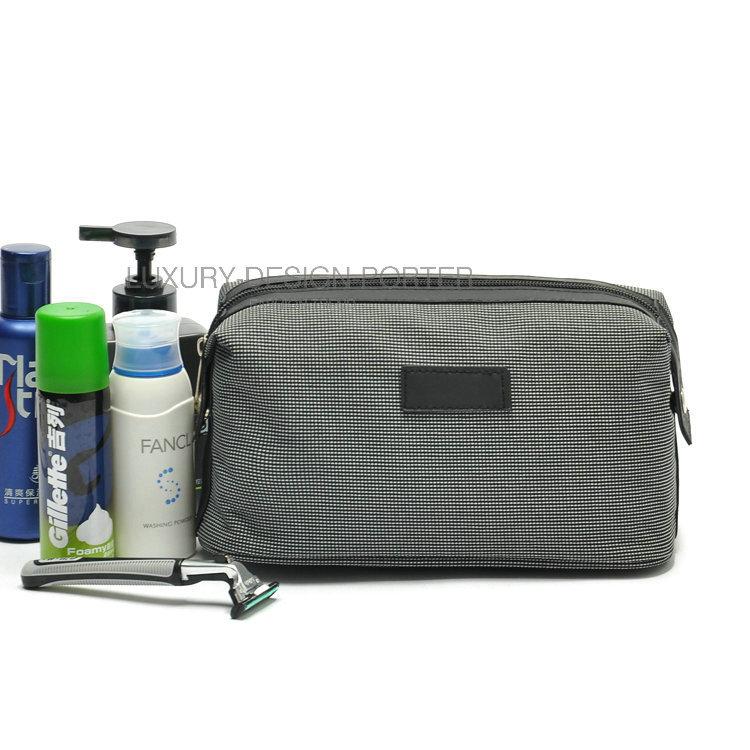 Elegant Black Small plaid Handbag Cosmetic Bag Travel Organizer necessaries Toiletry Bag for men women(China (Mainland))