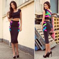 Women Sexy Slim Skinny Colorful Bandage Dresses 2 Pieces Midi Bodycon Dress Evening Party Nighclub Latest Summer 2014