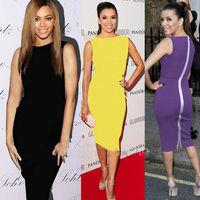 Summer 2014 European Pop Star Style Cocktail Dress Women Fitted Formal Business Office Zipper Knee Length Bodycon Pencil Dress